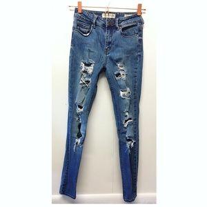 Bullhead   High Rise Skinniest Distressed Jeans